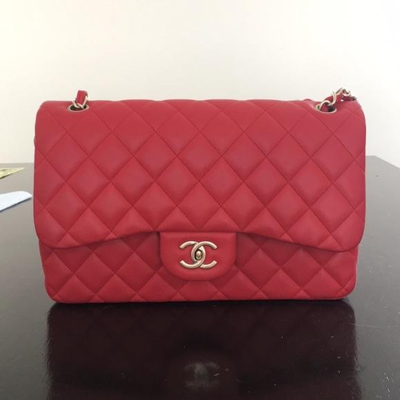35652ff053c CHANEL Handbags - Chanel red jumbo classic flap bag gold hardware